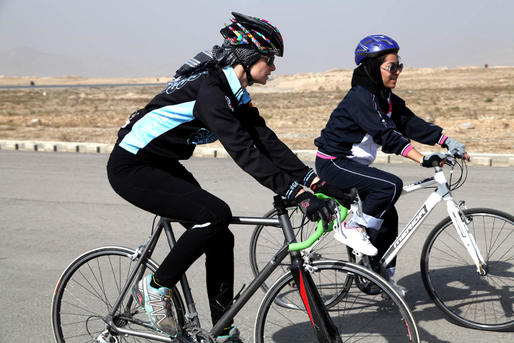 Riding bicycle by girls
